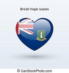 amor, islas vírgenes británicas, símbolo., corazón, bandera,...