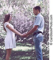 amor, jardín, primavera, pareja, joven, contra, dulce, florecimiento