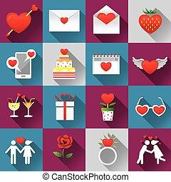 amor, :, jogo, objetos, ícones