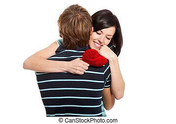 amor joven, pareja, tenencia, corazón rojo