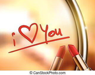 amor, lápiz labial, escrito, palabras, usted, rojo