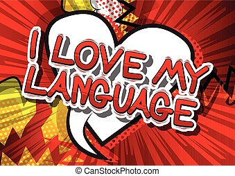 amor, língua, word., -, livro, cômico, meu
