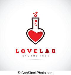 amor, laboratorio, resumen, vector, concepto, símbolo, icono, o, logotipo, plantilla