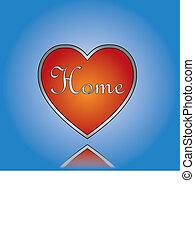 amor, lar, ou, casa, conceito, illustra