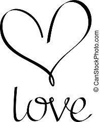 amor, letras, con, heart.