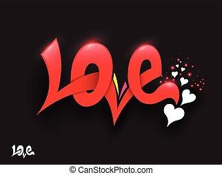 amor, letras, con, hearts.