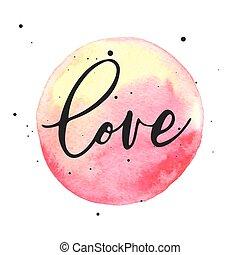 amor, letras, en, acuarela, mancha