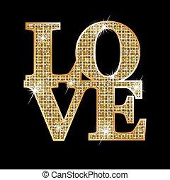 amor, letras, ouro