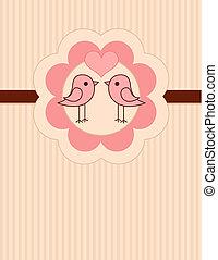 amor, lugar, pássaros, cartão