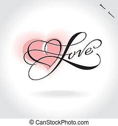 amor, mão, lettering, (vector)