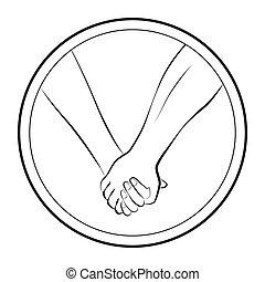 amor, mãos participação par, logotipo, redondo
