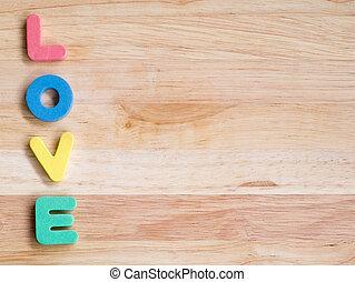Amor, madeira,  valentines, fundo, fundo, Dia