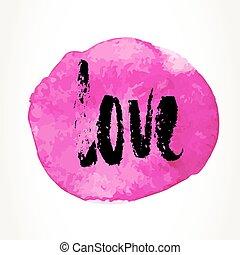 amor, mano, dibujado, letras