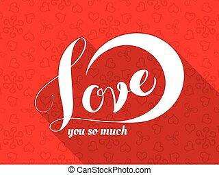 amor, mano, letras, caligrafía, inscripción