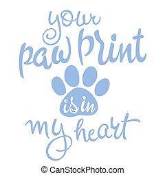 amor, manuscrito, animal estimação, quote., ilustração, cor,...