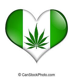 amor, marijuana, botón
