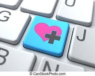 amor, medios, botón, concept.online, social, keyboard.