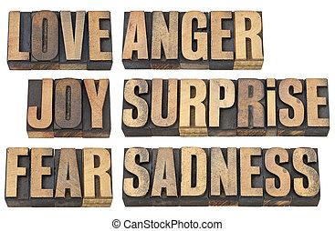 amor, medo, e, outro, emoções
