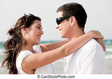 amor, mirada, pareja, otro, cada, sonrisa