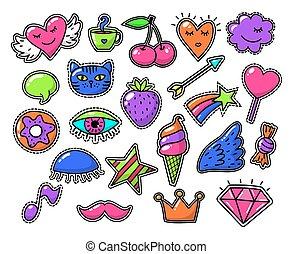 amor, moda, sinais, cômico, desenho, vetorial, remendos