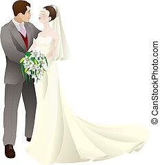 amor, noivo, ilustração, noiva, vetorial, casório