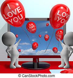 amor, online, tu, namorando, balões, mostra