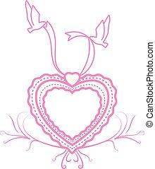 amor, ornamento, pássaros