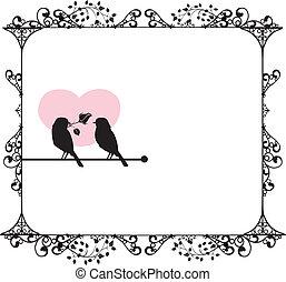 amor, ornamentos, pássaros