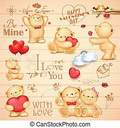 amor, oso, plano de fondo, teddy