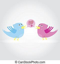 amor, outro., ilustração, vetorial, cada, pássaros