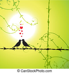 amor, pássaros, ramo, beijando