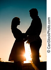 amor, -, pôr do sol, embracing pares, um ao outro