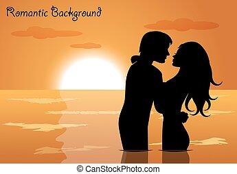 amor, pôr do sol, par
