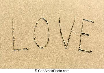 amor, -, palabra, dibujado, arena, playa