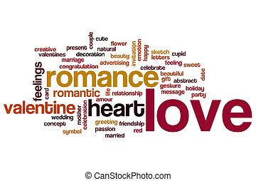 amor, palavra, nuvem