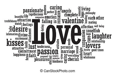 amor, palavra, nuvem, ilustração