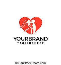 amor, par, desenho, modelo, casório, logotipo