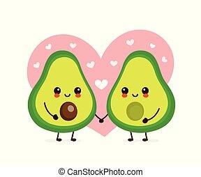 amor, par, feliz, abacate, cute, sorrindo