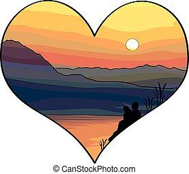 amor, par, -, ilustração, olhar, pôr do sol