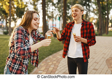 amor, par, parque, gelo, divertimento, tendo, creme