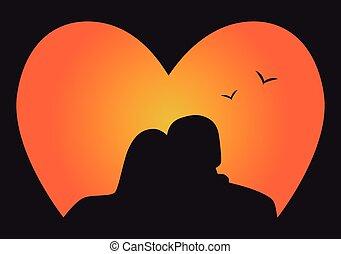 amor, par, silueta, olhar, pôr do sol