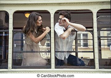amor, par, trem, janela., cabeças, saída