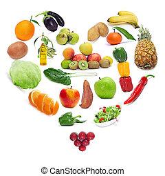 amor, para, a, alimento saudável