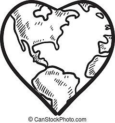 amor, para, la tierra, bosquejo
