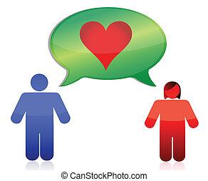 amor, pareja, diseño, ilustración