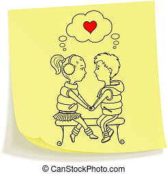 amor, pareja, nota pegajosa, dibujado, adolescentes