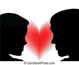 amor, pareja, vector, heart., gente