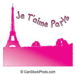 amor, paris, em, francês, &, torre eiffel
