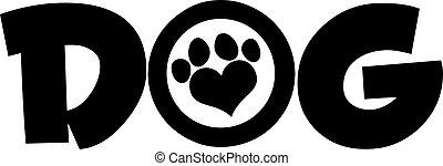 amor, pata, texto, cão, pretas, impressão
