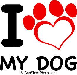 amor, pata, texto, perro, mi, rojo